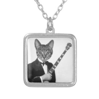 Cat with Banjo Silver Plated Necklace