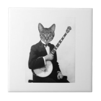 Cat with Banjo Tile