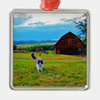Cat with Barns Metal Ornament