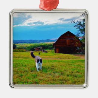 Cat with Barns Silver-Colored Square Ornament