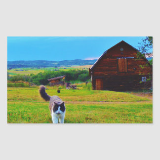 Cat with Barns Sticker