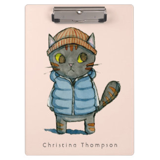 Cat with Beanie and Down Vest Watercolor Clipboard