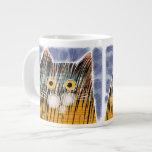Cat with big yellow eyes extra large mugs