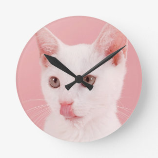 Cat with bowl of milk wall clock