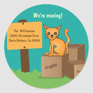 Cat with Boxes - We're Moving - Sticker