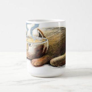 Cat with cup for a head coffee mugs