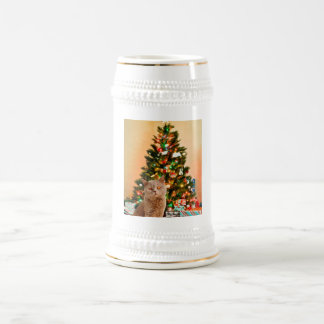 Cat with Decorated Christmas Tree and Gift Boxes Beer Stein