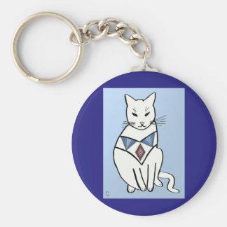 Cat with Diamond Collar Basic Round Button Keychain