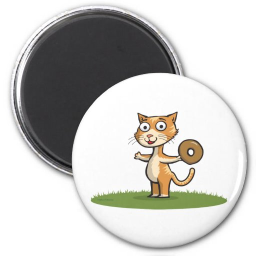 Cat with Donut Fridge Magnets