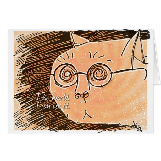cat with eyeglasses cards