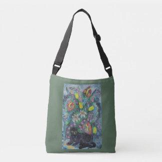 Cat with Flowers Crossbody Bag