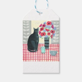 Cat with flowers pack of gift tags
