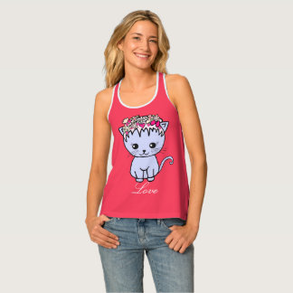 cat with flowers tank top