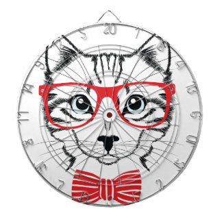 cat with glasses dartboard
