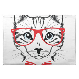 cat with glasses placemat