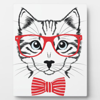 cat with glasses plaque