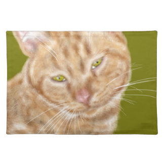 Cat with green eyes placemat