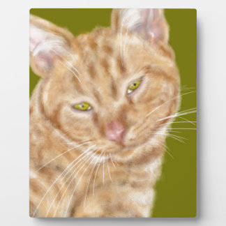 Cat with green eyes plaque