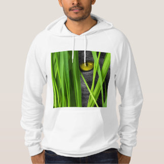 Cat with Green Leaf and Special Eyes Hoodie