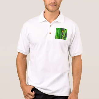Cat with Green Leaf and Special Eyes Polo Shirt