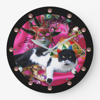CAT WITH HARLEQUIN HAT AND MASQUERADE PARTY MASKS LARGE CLOCK