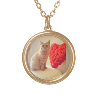 Cat with Heart charmed Valentine's Necklace