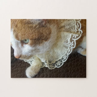 Cat with lace collar jigsaw puzzle