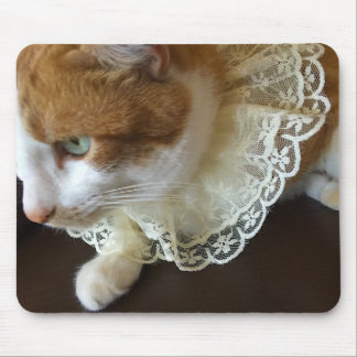 Cat with lace collar mouse pad