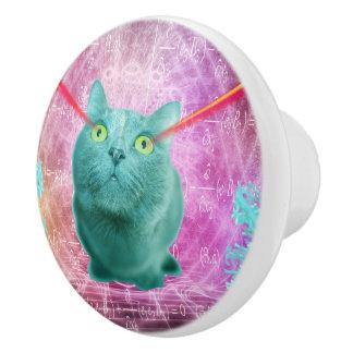 Cat with laser eyes ceramic knob
