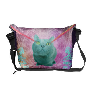 Cat with laser eyes courier bag