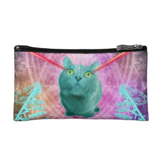 Cat with laser eyes makeup bag