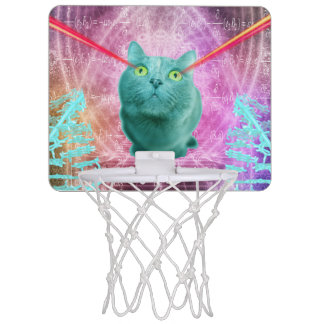 Cat with laser eyes mini basketball hoop