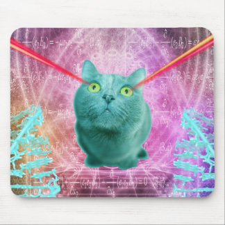 Cat with laser eyes mouse pad