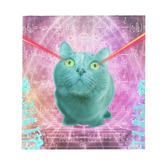 Cat with laser eyes notepad