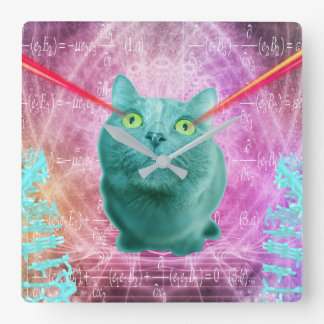 Cat with laser eyes square wall clock