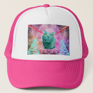 Cat with laser eyes trucker hat