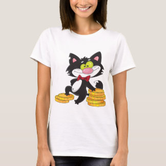 Cat With Money Womens T-Shirt