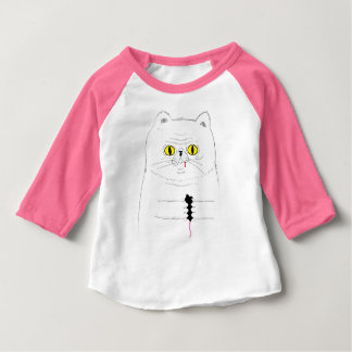 Cat With Mouse Funny Drawing Baby T-Shirt
