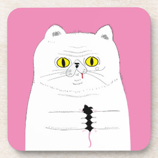 Cat With Mouse Funny Drawing Coaster