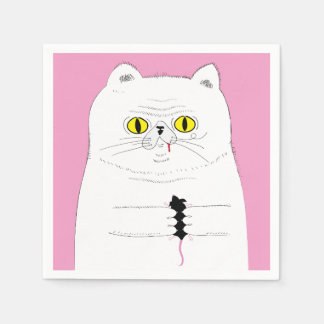 Cat With Mouse Funny Drawing Napkin Disposable Napkins