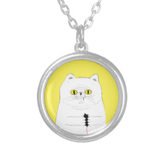 Cat With Mouse Funny Drawing Silver Plated Necklace