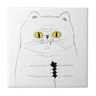 Cat With Mouse Funny Drawing Tile
