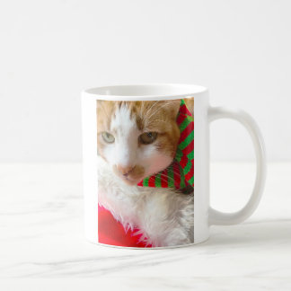 Cat with muffler and Santa hat Coffee Mug