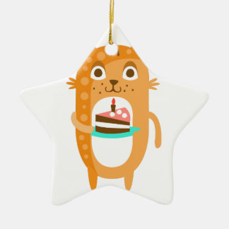 Cat With Party Attributes Girly Stylized Funky Sti Ceramic Ornament