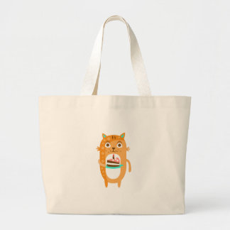 Cat With Party Attributes Girly Stylized Funky Sti Large Tote Bag