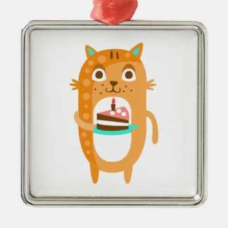 Cat With Party Attributes Girly Stylized Funky Sti Metal Ornament