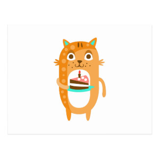 Cat With Party Attributes Girly Stylized Funky Sti Postcard