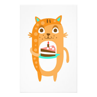 Cat With Party Attributes Girly Stylized Funky Sti Stationery