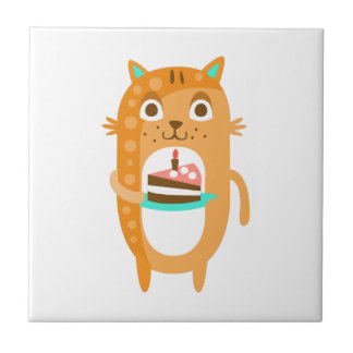 Cat With Party Attributes Girly Stylized Funky Sti Tile
