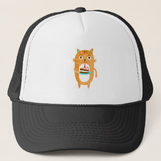 Cat With Party Attributes Girly Stylized Funky Sti Trucker Hat